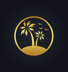 Sunset palm tree beach tropic gold logo vector