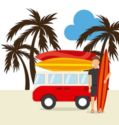 surfing hawaii vector image vector image