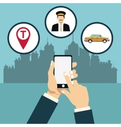 taxi service online app city background vector image