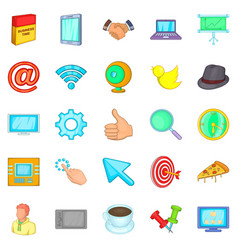 Team work icons set cartoon style vector