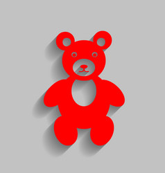 teddy bear sign red icon vector image vector image