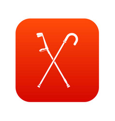 walking cane icon digital red vector image vector image
