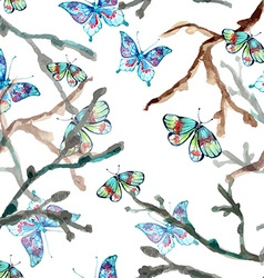 Watercolor seamless background with butterfly vector image vector image