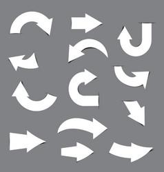white arrow paper sticker vector image