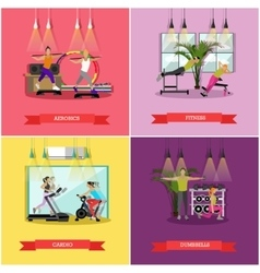set of workouts in the gym flat design vector image