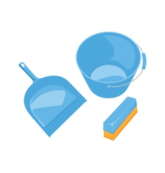 Dustpan brush bucket - blue colored vector