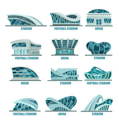 Arena building or soccer football stadiums icons vector