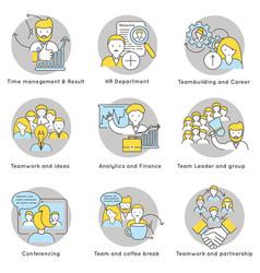 Linear teamwork icons set vector