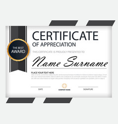 Black white elegance horizontal certificate vector