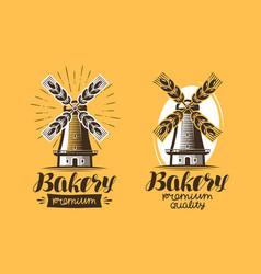 Bakery bakehouse logo or icon bread mill vector