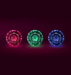 colored precious stones vector image