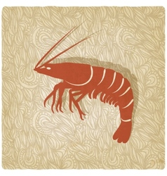 Shrimp old background vector