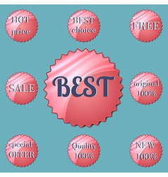 Glossy red round special offer stickers vector