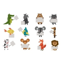 Wild animal zoo with clean plate icons set vector
