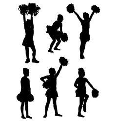 Collection of silhouettes of children of cheerlead vector