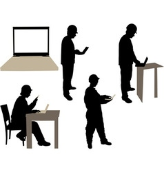 Engineers working on laptop silhouettes vs vector image