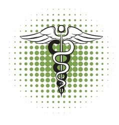 Caduceus medical symbol comics icon vector