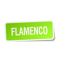 Flamenco green square sticker on white background vector