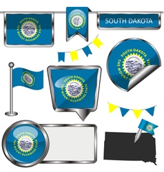 Glossy icons with south dakotan flag vector