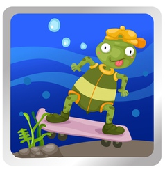 a turtles play skateboarding under vector image vector image