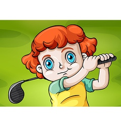 A young child playing golf vector