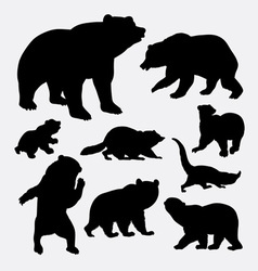 Bear and raccoon wild animal silhouette vector image vector image