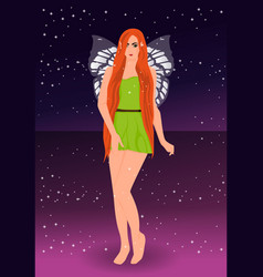 beautiful fairy pixie sky background vector image