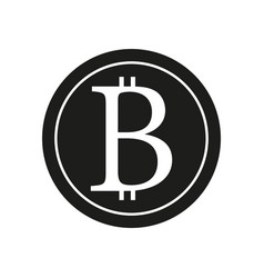 bitcoin sign black icon on vector image vector image