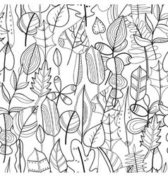 Black and white seamless pattern with leaves for vector image