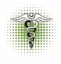 Caduceus medical symbol comics icon vector
