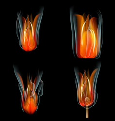 Collection of fires isolated on black background vector