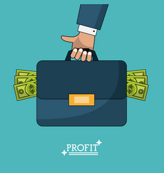 Colorful poster of profit man briefcase with money vector