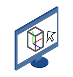 Computer monitor icon in isometric 3d style vector image