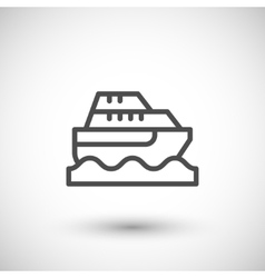 Cruise boat line icon vector image