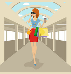 Fashion woman walking with shopping bags vector