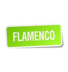 Flamenco green square sticker on white background vector