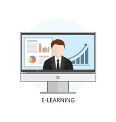 Flat design concept for webinar online learning vector image