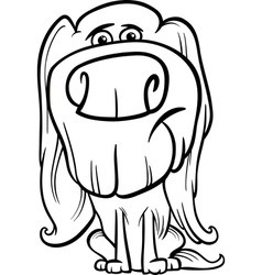hairy dog cartoon coloring page vector image vector image
