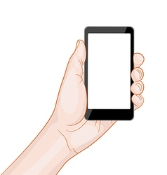 hand holding a smartphone with blank screen vector image