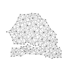 Map of senegal from polygonal black lines vector