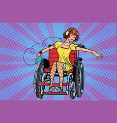 Modern joyful teen girl disabled in a wheelchair vector