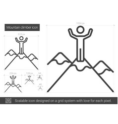 Mountain climber line icon vector