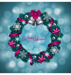 New Years background - a wreath of fir branches vector image vector image