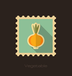 Onion flat stamp vegetable vector