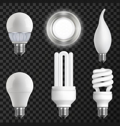 Realistic light bulbs set vector