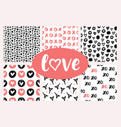romantic seamless patterns set vector image vector image