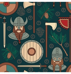 seamless viking pattern with pine branches vector image vector image