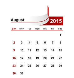 simple calendar 2015 year august month vector image