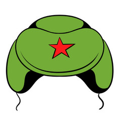 Soviet military cap earflaps icon cartoon vector