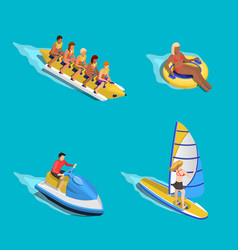 Water riding people set vector